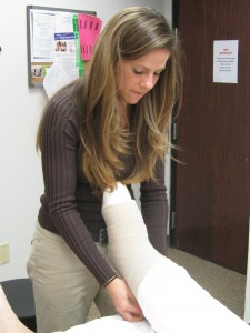Joni Miller, PT, DPT, CLT – Applying Compression Bandages to Patient with Lymphedema
